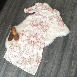 OFF-SHOULDER Floral Embroidered Maxi Dress
